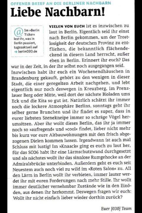 Brief Für Nachbarn Wegen Umzug : Berlin ist die stadt zu laut gentrification